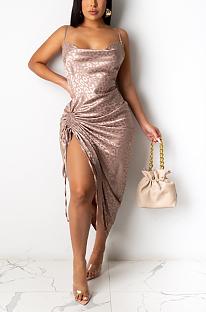 Νυχτερινό σέξι πολυεστέρα κρύο ώμο με ρακέτα μεσαίας μέσης μακρύ φόρεμα μέσης KA7155
