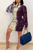 Мульти повседневное мини-платье с длинным рукавом и круглым вырезом со средней талией и принтом свастики YY5257