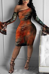 Robe mi-longue décontractée à motif serpent en polyester à manches longues et épaules dénudées R6393