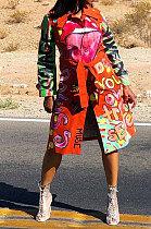 Col de costume de mode impression mi long manteau de poussière de modèle BLK1193