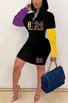 Mini-robe sportive taille haute épissée à manches longues en polyester avec lettre SH7242