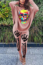 Fashion Casual Printing Skeleton Personality Bat Sleeve Open Fork Jacket Long Pants Two-piece BLK1084