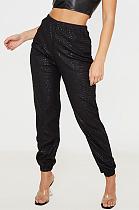 Повседневные брюки капри из искусственной кожи со средней талией в уличном стиле SN2057
