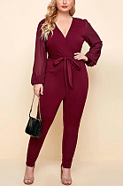 Casual Polyester Long Sleeve V Neck Self Belted Bodycon Jumpsuit Tube Jumpsuit SN2128