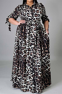 Leopard Casual Polyester Half Sleeve Lapel Neck Sleeve Knot Buttoned Plus Long Dress YZ1015