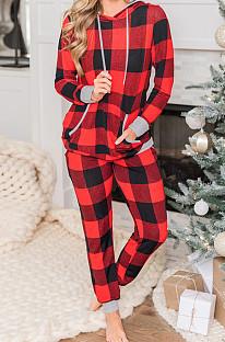 Noël Plaid Print Hooded Drawstring Baggy Hoodie Trouser Suit NS7923