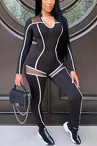 Sporty Sexy Polyester Mesh Long Sleeve U Neck Spliced Bodycon Jumpsuit ED8356