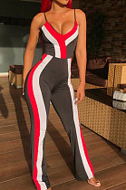 Fashion Sexy Stripe Cultivate One's Morality Mid Waist Bodycon Jumpsuits EL8009