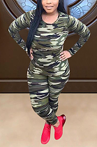 Casual Polyester Camo Long Sleeve Round Neck Tee Top Mid Waist Long Pants Sets ED8354