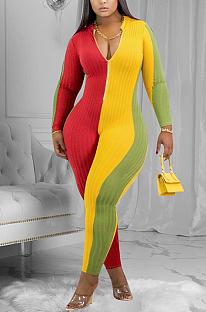 Sporty Sexy Long Sleeve V Neck Contrast Binding Unitard Jumpsuit ED8353