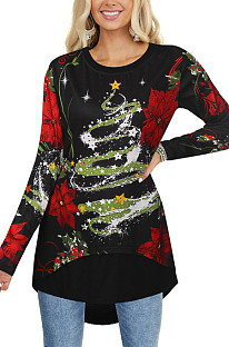 Christmas Top Slim Single Breasted Long Sleeve Printed T-Shirt NS3174