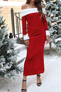 Christmas Long Dress Skirt With Split Frills And Patchwork Buttock - Covered One-Shouldered Dress