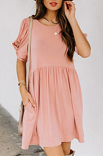 A Stylish Solid-Color Dress With A Loose Round Neck And Short Sleeves NS9953