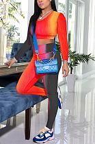 Sexy Tie Dye с длинным рукавом и круглым вырезом, укороченный топ, футболка, длинные брюки, наборы QQM4168
