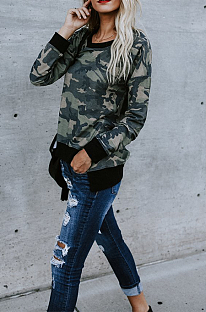 厚みのある不規則なセクシーな迷彩長袖ラウンドネックスプライスQQM4169