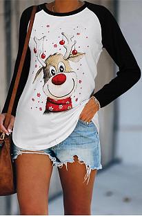 Casual T-shirt met ronde hals en kerstprint met lange mouwen voor dames NS2612