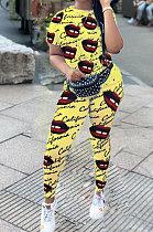 Женская одежда с коротким рукавом из двух частей с принтом, сексуальный большой рот с английскими наборами EL8021