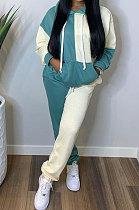 Womenswear Fashio Casual Spliced Contrast Color Long Sleeve Hooded Fleece Two-Piece BDF8052