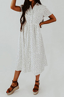 Retro Loose Dress With Lapel Point And Short Sleeves NS6845