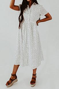 Свободное платье в стиле ретро с отворотом и короткими рукавами NS6845
