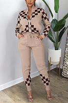 Sporty Polyester Colorblock Long Sleeve Round Neck Slant Pocket Long Pants Sets GL6328
