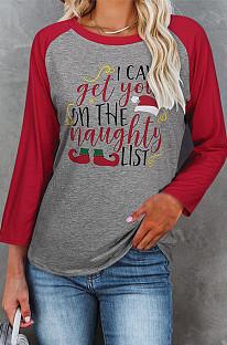 Casual T-shirt met ronde hals en kerstprint met lange mouwen voor dames NS2617