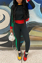 Autumn Winter Casual Polyester Long Sleeve Round Neck Spliced Tee Top Long Pants GLS8101