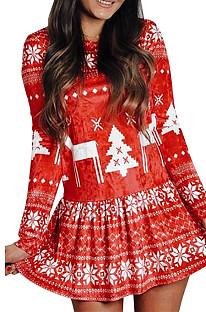 Robe imprimée de Noël à manches longues NS8229
