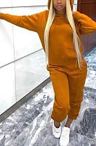 Loose type Casual Polyester Long Sleeve Slant Pocket Hoodie Mid Waist Long Pants Sets TD8007