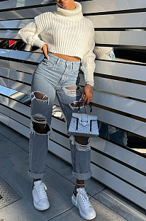 Street Style Loose Ripped Slimming Buttoned Long Pants Wide Leg Pants Jeans JLX5502