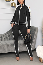 Casual Polyester Long Sleeve Round Neck Spliced Mid Waist Long Pants Sets YYF8154