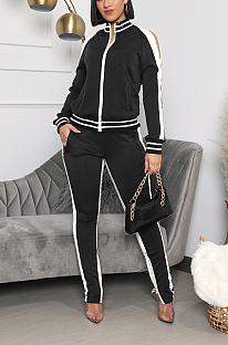 Ensembles de pantalons longs décontractés à manches longues en polyester à col rond épissé à taille moyenne YYF8154