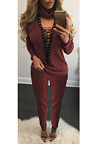 Casual Polyester Long Sleeve V Neck Self Belted Hollow Out Mid Waist Long Pants Sets L0335
