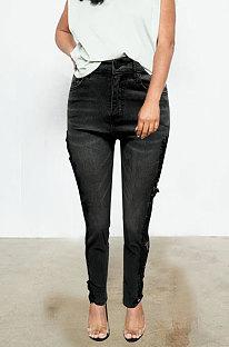 Pantalon en jean taille mi-haute en dentelle épissée Q8662
