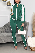 Casual Sporty Polyester Long Sleeve Off Shoulder Mid Waist Long Pants Sets YYF8153
