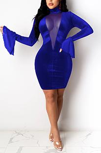 Mini robe sexy en maille de polyester évasée à manches longues à col haut et taille moyenne E8560