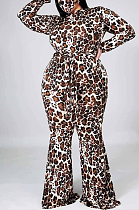 Street Style Polyester Leopard Long Sleeve High Neck Self Belted Wide Leg Plus Jumpsuits YZM7137