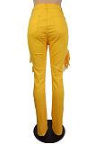 Casual Cotton Mid Waist Long Pants Pothole Flare Leg Pants LS6410