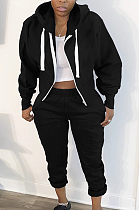 Casual Long Sleeve Spliced Hoodie Mid Waist Baggy jacket Long Pants Sets SM9135