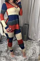 Womenswear Rib Digital Printing Sets Casual Two-Piece DY6625