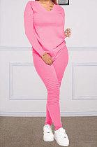 Womenswear Pure Color Ruffle Long Sleeve Long Pants Sets DY6613
