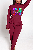 Casual Letter Long Sleeve Round Neck Tee Top Mid Waist Long Pants Sets WJ5122