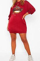 Autumn Winter Casual Printing Loose Fleece Dress DY6632