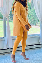 Long Sleeve Pure Color Ruffle Womenswear Casual Two-Piece DY6618