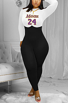 Casual Polyester Letter Long Sleeve Round Neck Spliced Bodycon Jumpsuit YFS3647