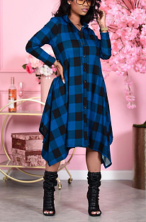 Элегантное длинное платье-рубашка в клетку с длинным рукавом и лацканами, на пуговицах со средней талией, LML191