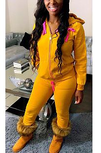 Sexy Polyester Long Sleeve Spliced Slant Pocket Hoodie Zipper Long Pants Coat Sets HG093