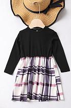 Nine-Point Sleeve Plaid Dress Parent-Child Outfit QZZ8831