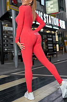 Utility Sleepwear Long Sleeve Deep V Neck Buttoned Embroidered Bodycon Jumpsuit Q759