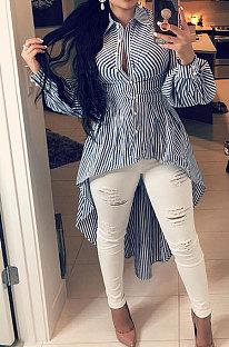 Рубашка в полоску с длинным рукавом Нерегулярная юбка с высокой талией TL6134